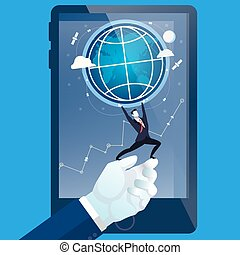 Vector illustration of businessman on human hand holding the Earth