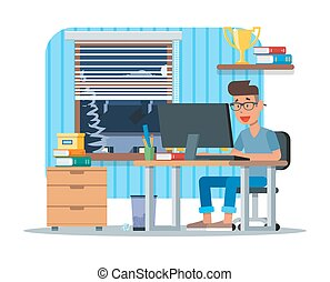 Vector illustration of young man working at computer, flat...