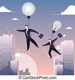 Vector illustration of two businessmen walking on tightrope...