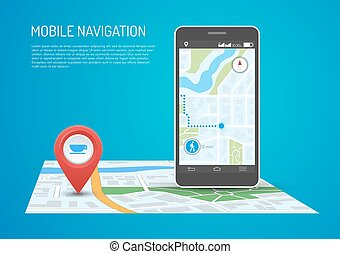 Vector illustration of smartphone with mobile navigation in...