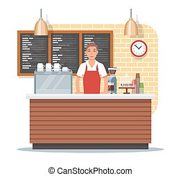 Vector illustration of coffee shop design with barista, flat...