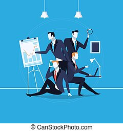 Vector illustration of business people at work in flat style