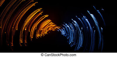 Colorful abstract trails of light. Dots, lines and bokeh on...