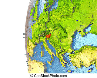 Slovenia in red on a globe with reflective ocean waters. 3D...