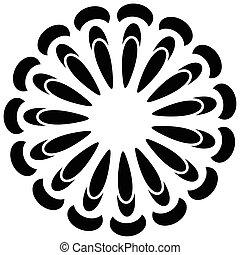 Circular geometric element(s), rotating radiating shapes on...