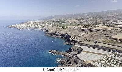 Tenerife coast with Banana cultivations, Spain.