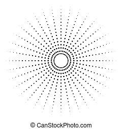 Dotted radial element. Circle, circular pattern shape