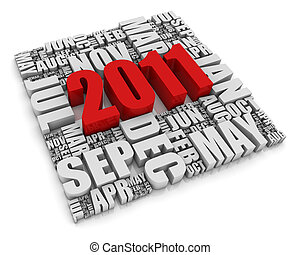 Year 2011 - 3D text representing the year 2011 and the...