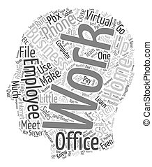 The Virtual Office Run Your Business From Home text background wordcloud concept
