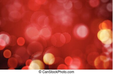 Dark red abstract background with red and golden blurres lights