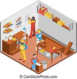 Woodwork Workshop Concept - Woodwork workshop isometric...