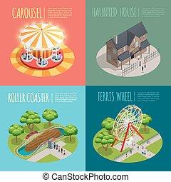 Amusement Park Concept Icons Set - Amusement park concept...