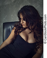 Beautiful brunette hispanic woman