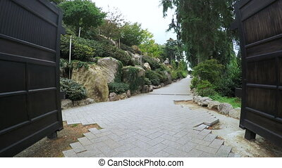 Gate and path in Japanese Garden - Japanese garden and...