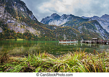 Famous lake Konigssee - Berchtesgaden in Germany on the...