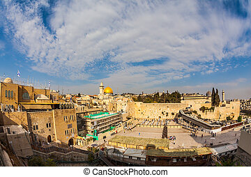 Autumn day in Jerusalem - The area of the Western Wall of...
