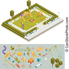 Colored Isometric Playground Composition - Colored 3d...