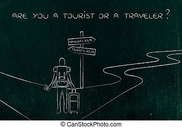 traveler or tourist: person with backpack and bag at...