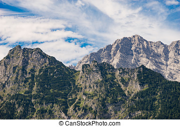 Alpine mountains in Berchtesgaden national park, Germany -...
