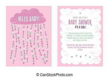 Baby shower invitation template for girl