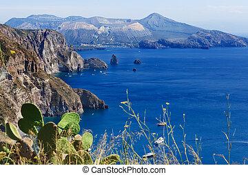 Lipari - Quattrocchi - Quattrocchi seascape: view on Vulcano...