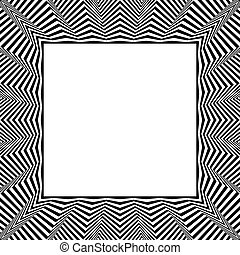 Frame with distorted radial (wavy, zigzag) lines. Monochrome...