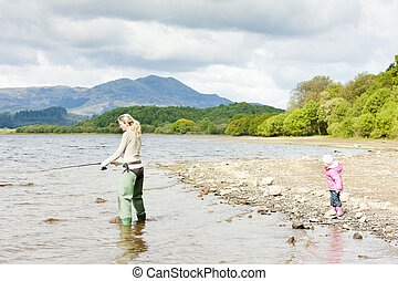 fishing woman and little girl, Loch Venachar, Trossachs,...