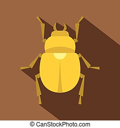 Gold scarab beetle icon, flat style - Gold scarab beetle...