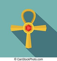 Golden Ankh symbol icon, flat style - Golden Ankh symbol...