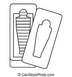 Sarcophagus icon, outline style - Sarcophagus icon. Outline...