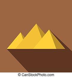 Egyptian Giza pyramids icon, flat style - Egyptian Giza...
