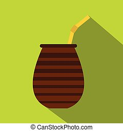 Chimarrao for mate or terere icon, flat style