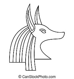 Head of egyptian god Anubis icon, outline style - Head of...