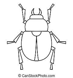 Scarab beetle icon, outline style - Scarab beetle icon....