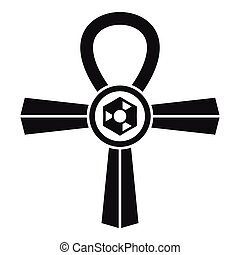 Egypt Ankh symbol icon, simple style - Egypt Ankh symbol...