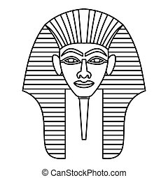 Egyptian pharaohs mask icon, outline style - Egyptian...