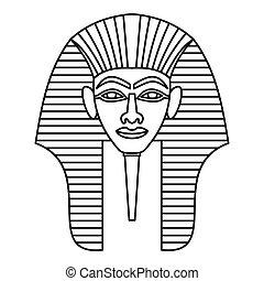 Egyptian pharaohs mask icon, outline style - Egyptian...