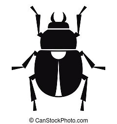 Scarab icon, simple style - Scarab icon. Simple illustration...