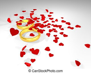 Valentine's Day. Rings and hearts 3d illustration