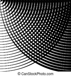 Grid, mesh pattern of circles with dynamic lines. Circular...