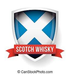 Scotch Whisky ribbon on Scotland flag vector