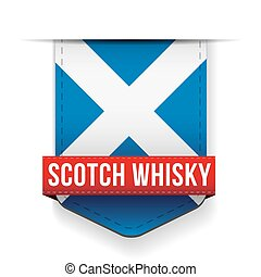 Scotch Whisky ribbon on Scotland flag vector
