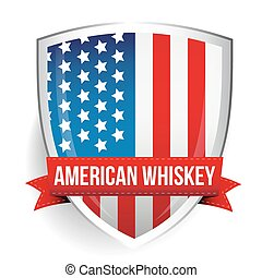 American Whiskey ribbon on USA flag