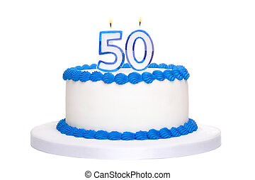 Birthday cake decorated with blue frosting and number fifty...