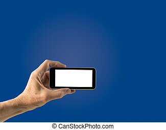 Male hand holding smartphone with blank screen - Image of...