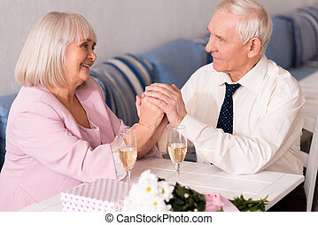 Gorgeous elderly couple holding hands - So sweet. Cute happy...