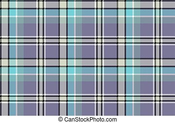 Blue gray check plaid pixeled seamless texture. Vector...