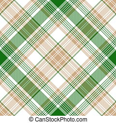 Green gold check diagonal plaid seamless pattern