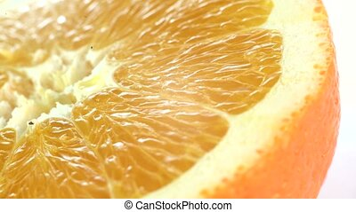 Close-up of a spinning orange