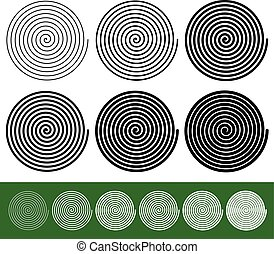 Logarithmic spirals with thinner and thicker lines